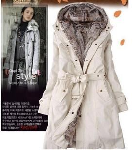 Women Plus Size Winter Coat Down Parkas Coats Army Green Fur Liner Hooded Winter Warm Long Coat Beige/ Black(With Belt) S--XXXL
