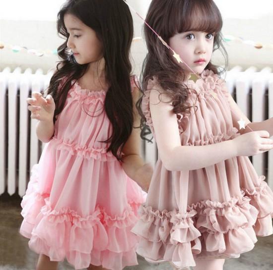 2015 Summer Baby Girl Toddler Child Kids Party Wedding Fancy Princess Pink Brown Chiffon Ruffle Pleated Tutu Dress S0140253(China (Mainland))