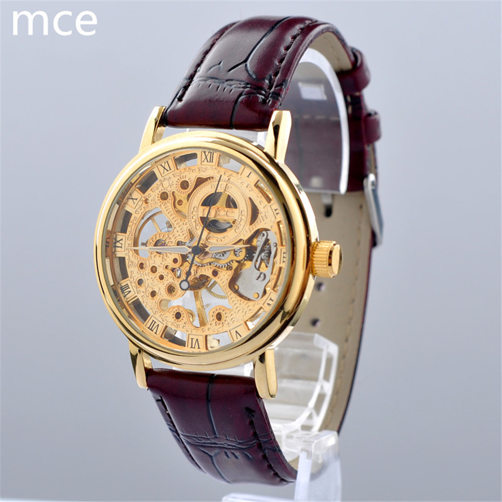 MCE Luxury brand Menchniacl watch men Hand-self wind Gold Skeleton Watches men Brown leather strap waterproof Male clock Relojes(China (Mainland))