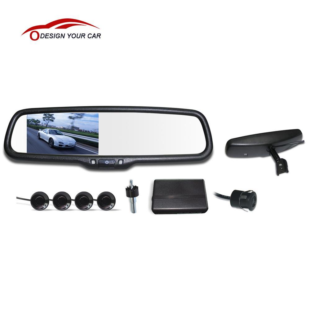 "DC 12V 4 Parking Sensors 4.3"" LCD Display Camera Video Car Rearview Mirror Reverse Radar System Car Parking Assistant System(China (Mainland))"
