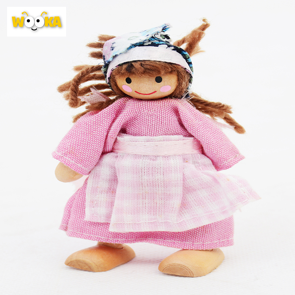 wooden farm toys minifigures Brown boy /pink girl wood toy baby Cosplay game interesting dolls gif 2016 new(China (Mainland))