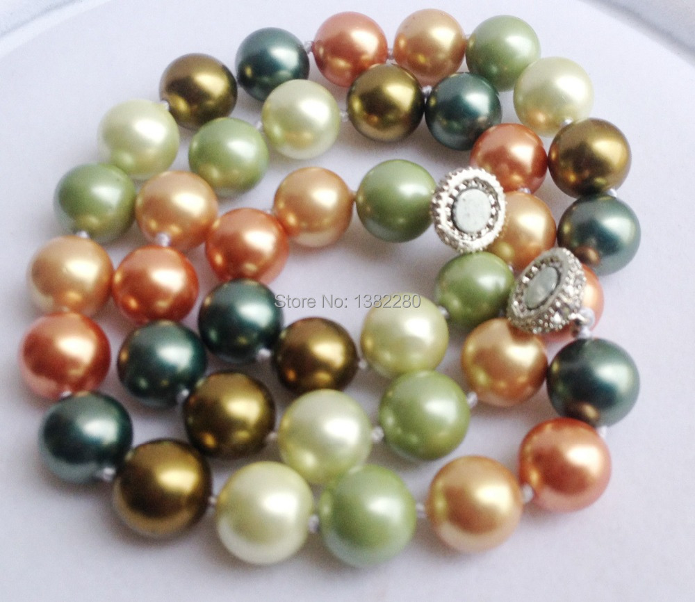 """Free shipping! AAA 10mm South Shell Pearl jaspers Round Beads Necklace Magnet Clasp 18"""" 2 piece/lot fashion jewelry JT5650(China (Mainland))"""