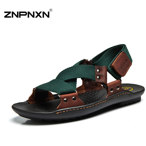 summer Sandals Men 2015 Fashion Designers Sandalias hombre Beach Shoes Men's Sandals brand leather Sandals for Men zapatos(China (Mainland))