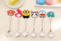 Summer Style Cartoon Kawaii Minions Stainless Steel Cute Tea Rice Coffee Mix Ice Cream Spoon Kitchen Kids Tableware Gift