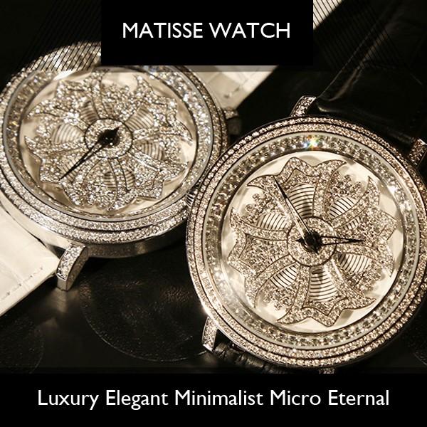 МАТИСС Повелительницы Полный Кристалл Вращающийся Циферблат Buiness Кварцевые Часы Наручные Часы-Белый