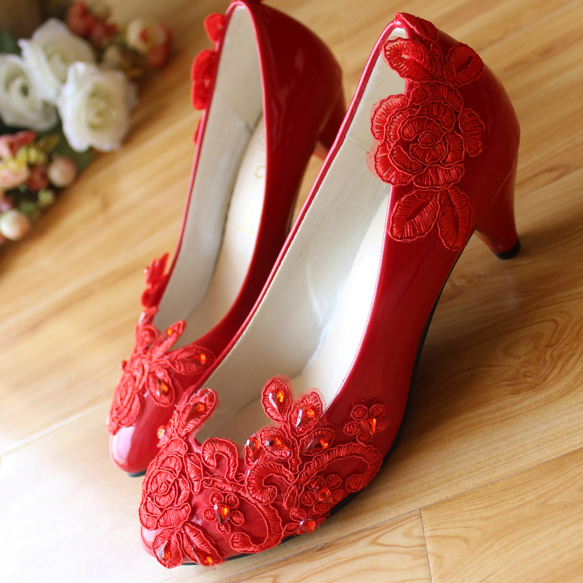 handmade crystal wedding shoes red bridal shoes lace