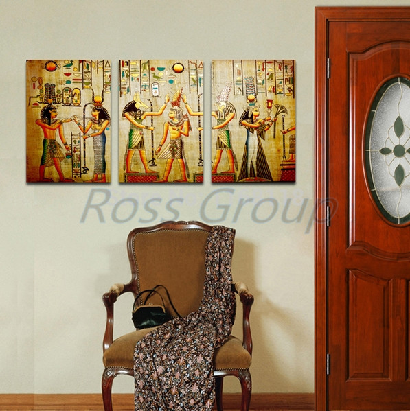 40 60 3p free shipping triple abstract picture egyptian for Egyptian mural painting