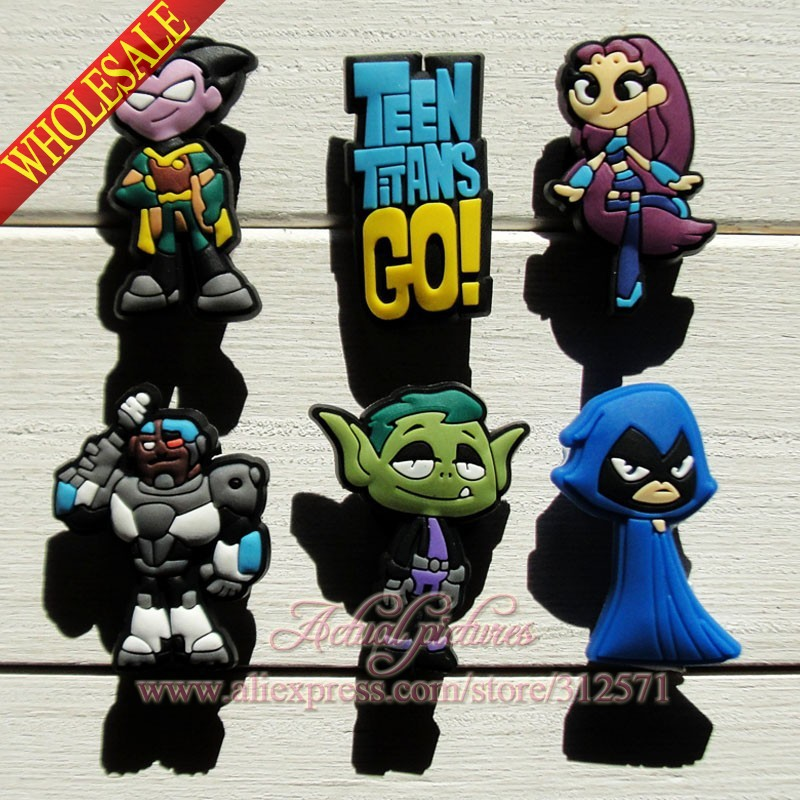 18pcs Teen Titans PVC Shoe Charms For Silicone Wristbands &amp; shoes with holes,Mixed 6 Models,shoe decorationFashion Shoe Ornament<br><br>Aliexpress