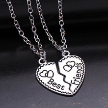 New heart pendant pieces broken two best friend friendship forever women necklace collier femme choker necklace jewelry collares