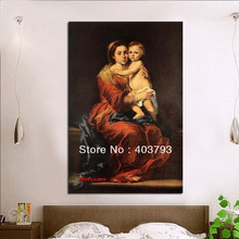Virgin and Child with a Rosary Murillo Repro Oil painting on canvas free shipping Home Decor Art Gifts(China (Mainland))