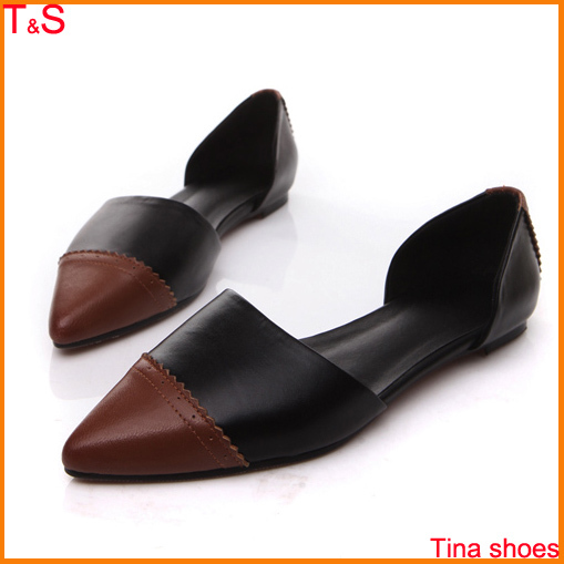 New arrival 2014 womens fashion genuine leather pointed toe flat heel shoes with patchwork sandals flats shoes A03<br><br>Aliexpress