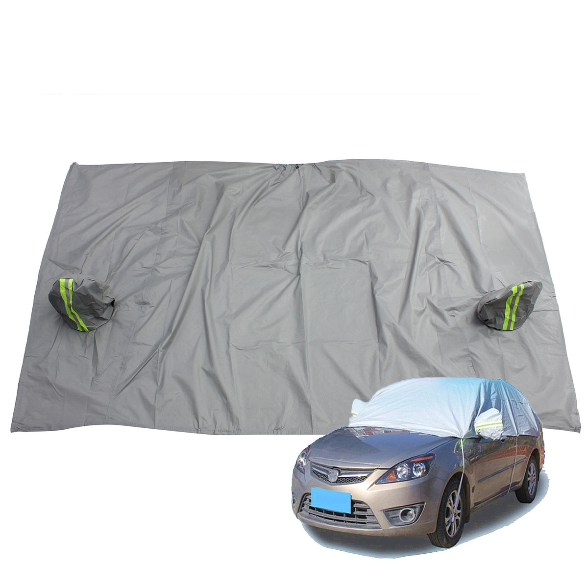Universal Car Half Covers Styling Waterproof Sunshade Snow Resistant Breathable Anti-UV Protection Outdoor Indoor Shield