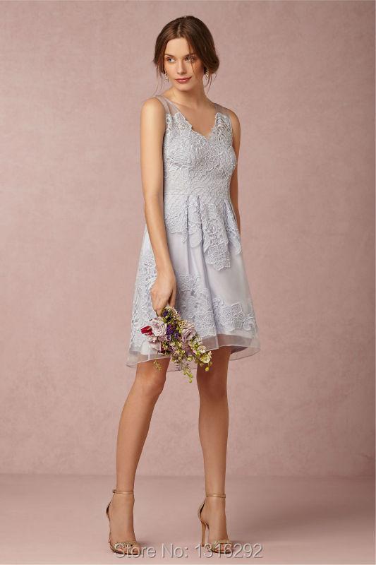 Bohemian wedding party dress 2015 stylish v neck lace for Lace wedding reception dress