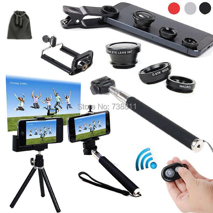 For Sony Xperia Z3/Z2/Z/Z1/For Motorala Moto X/G/For Galaxy S6/S5/S4/S3 Bluetooth Camera Remote Shutter+Selfie StickMonopod+Lens(China (Mainland))