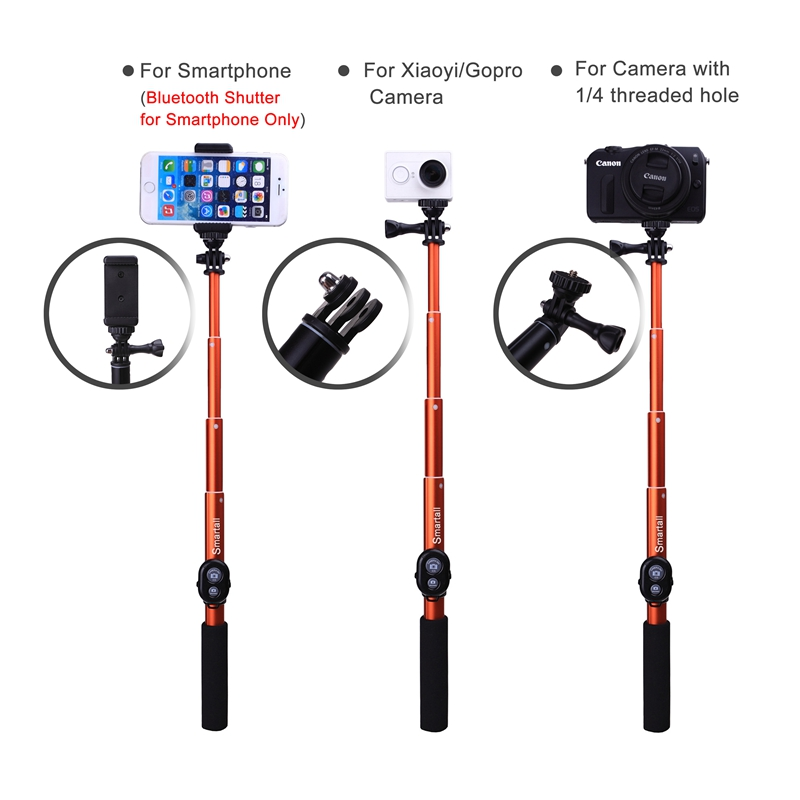 extendable waterproof gopro wireless bluetooth remote camera shutter selfie stick 39 monopod. Black Bedroom Furniture Sets. Home Design Ideas