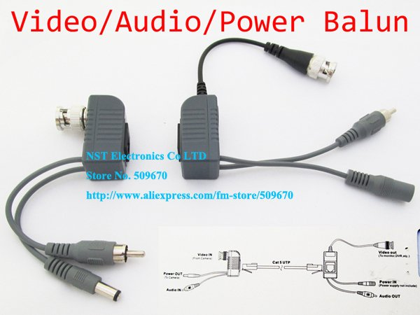 Free Shipping/ 10Pairs/ High Quality 1CH Passive Video Audio Power Balun BNC CCTV Transceiver Cable(China (Mainland))