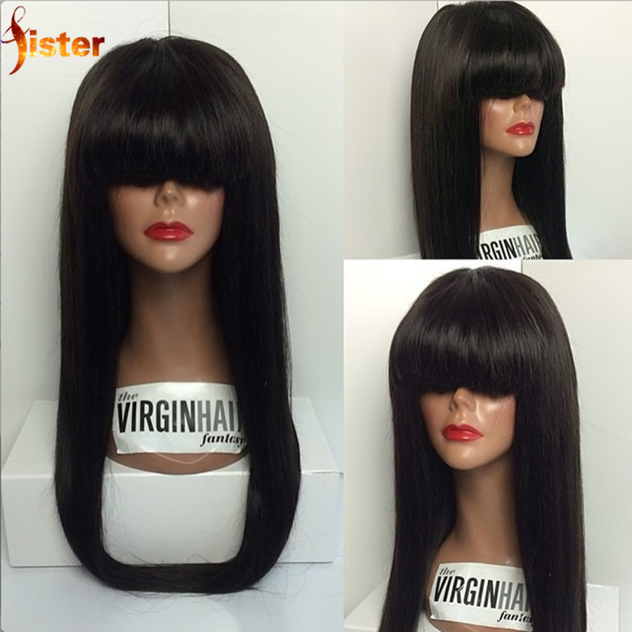 Silky Malaysian Straight Wig With Bangs Virgin Human Hair Full Lace Straight Wig For Black Women Glueless Lace Front Wigs Stock<br><br>Aliexpress