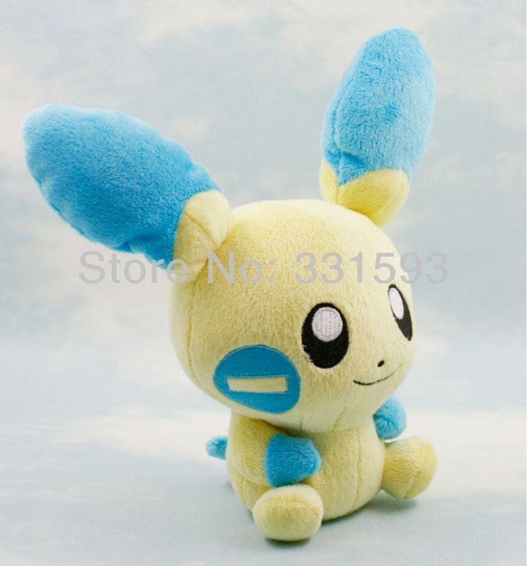 "Plush Anime Pokemon Minun Plush Toy Stuffed Animals Dolls New Year Gifts for Children 5.5""  Free Shipping 5pcs/lot (China (Mainland))"