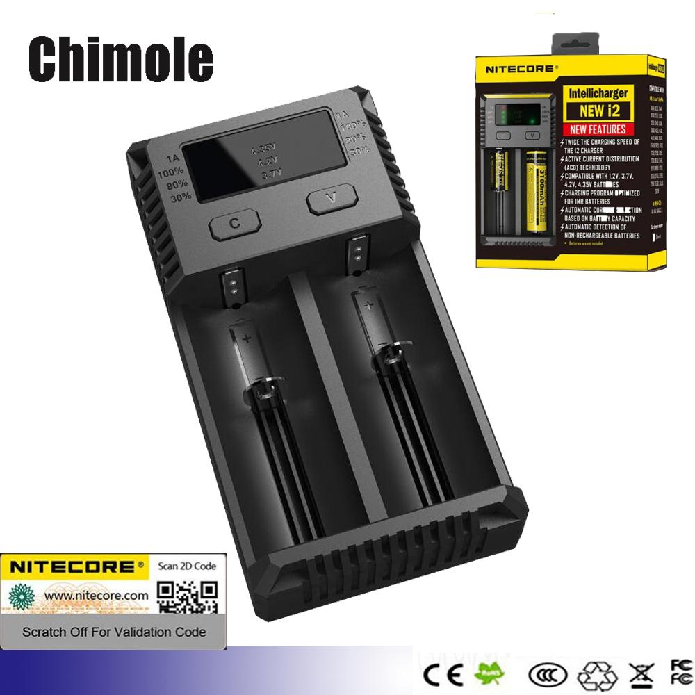 Batteries Charger Nitecore i2 new i2 i4 Intellicharger Charger For Nimh Nicd Li-Ion Imr 18650 26650 18350 18500 AA AAA battery(China (Mainland))
