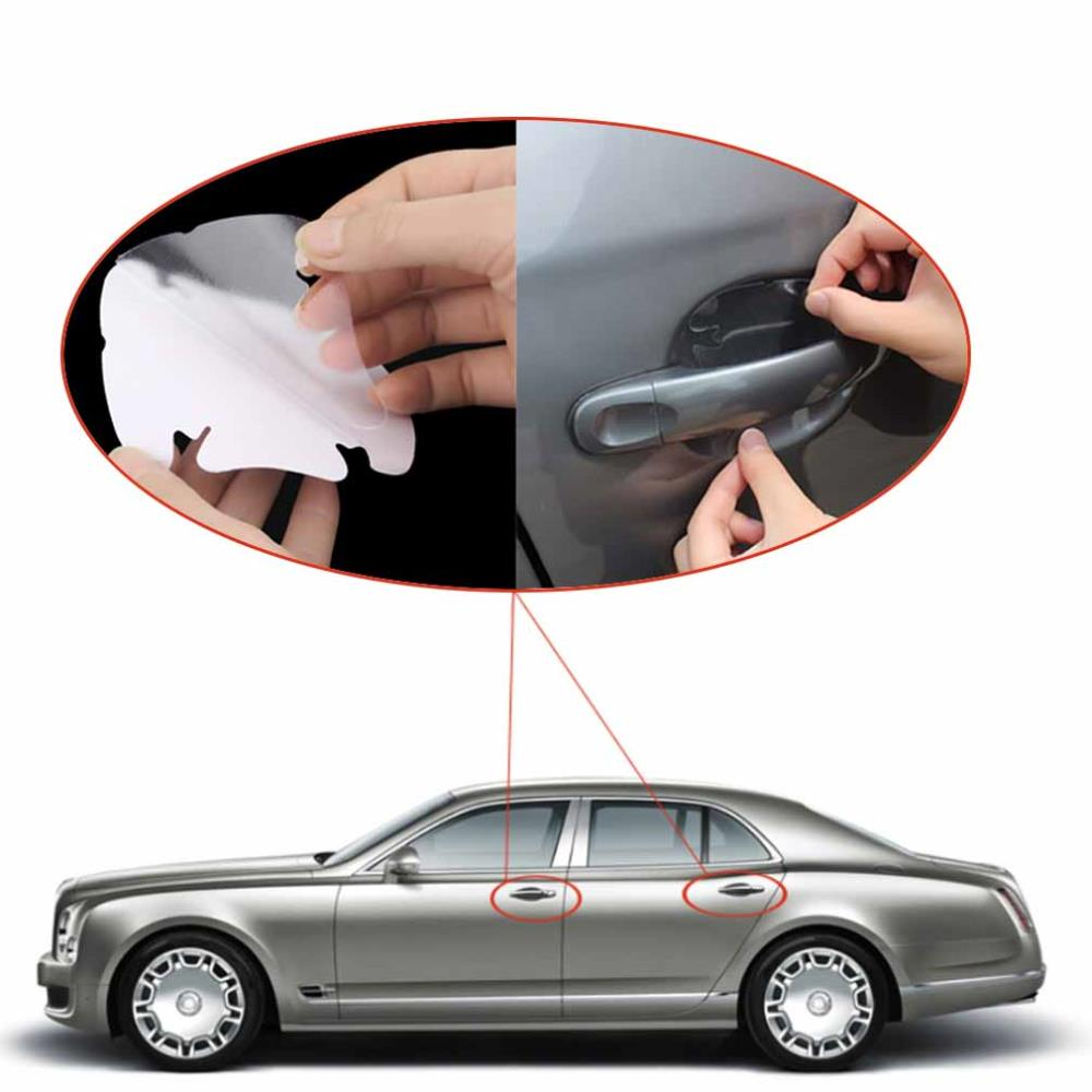 Universal Invisible car styling car door Scratches 4pcs/lot Automobile Shake Protective car stickers Film car Handle Protective(China (Mainland))