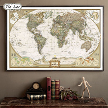 TIE LER Vintage Retro Matte Kraft Paper World Map Antique Poster Wall Sticker Home Decora 72.5*47.5CM(China (Mainland))