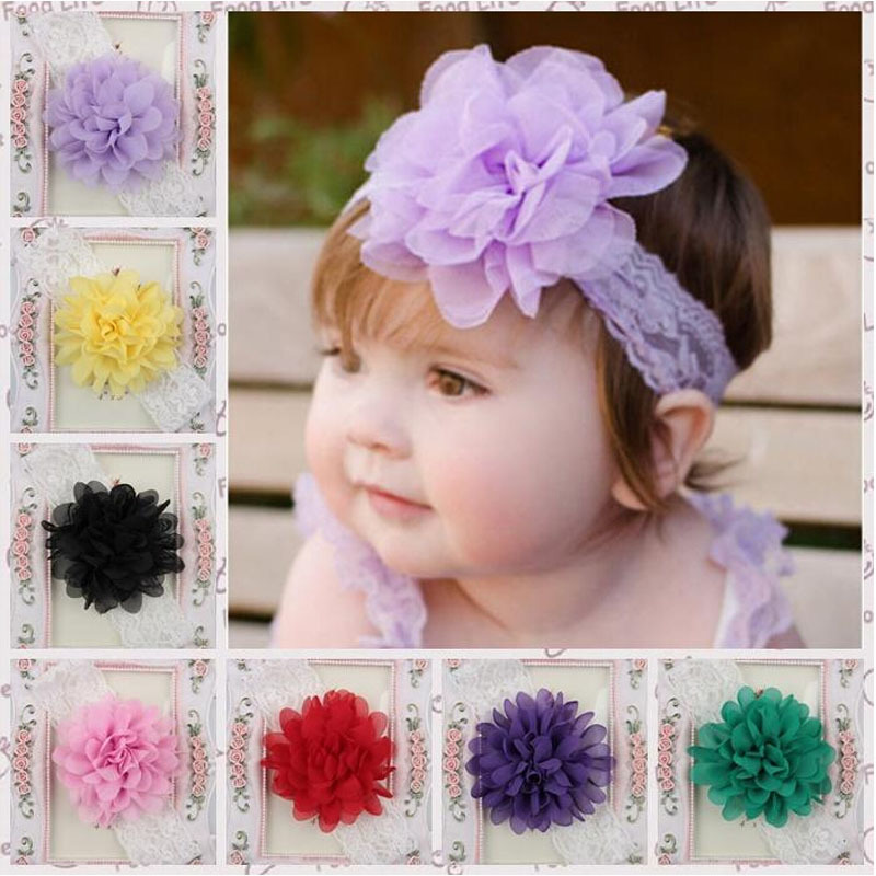 Baby Chiffon Flower Hairband Hair Accessories Baby Girls Lace Headband Infant Girl Hair Weave Band Childern Hair Clips(China (Mainland))