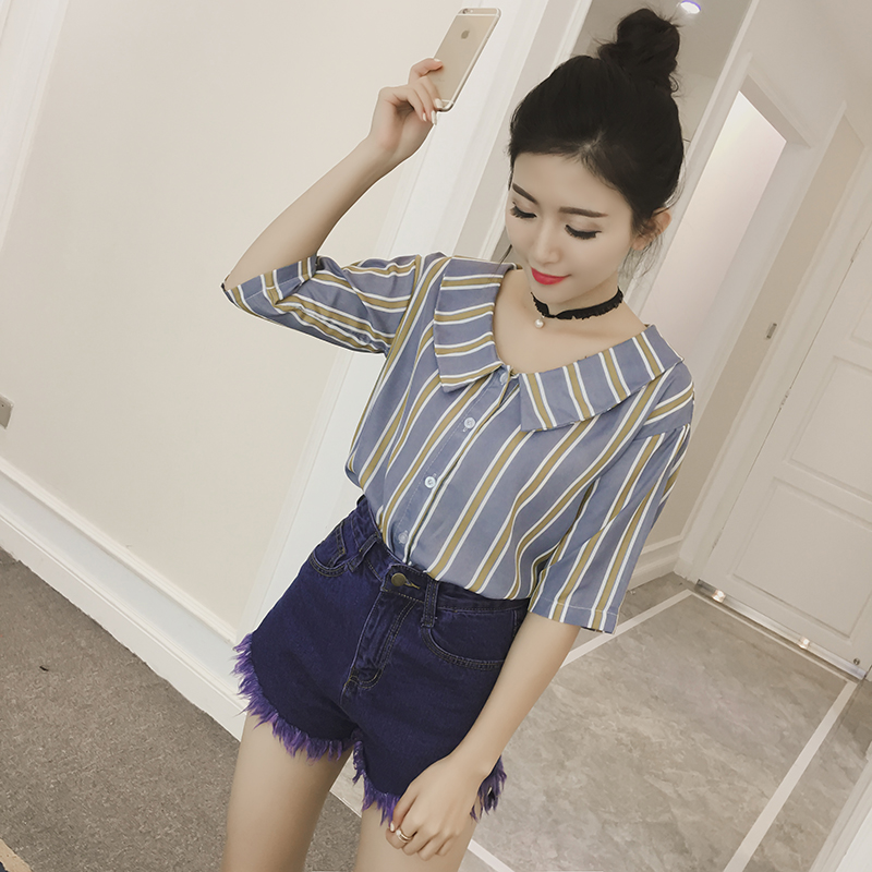 summer semi sheer baby doll chiffon blouse striped women shirt ladies tops kawaii retro chemise femme chemisier camicia donna(China (Mainland))