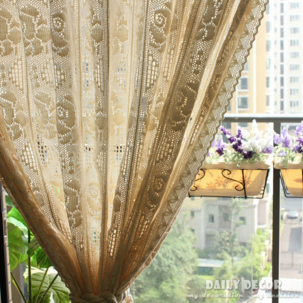 240 255cm vintage beige handmade crochet curtain rose hook. Black Bedroom Furniture Sets. Home Design Ideas