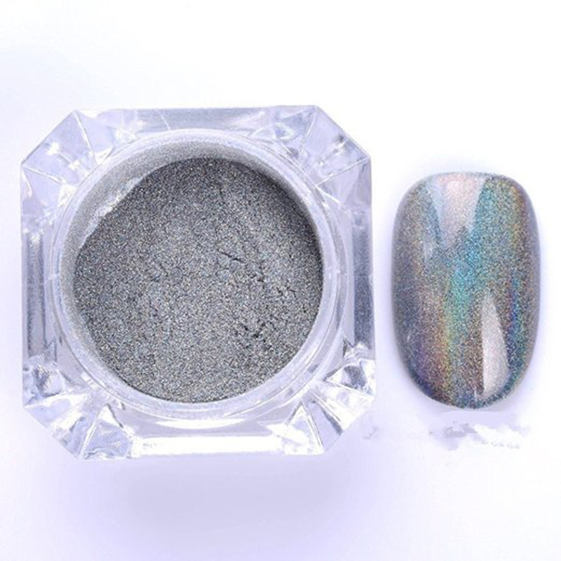1g/Box Holographic Powder Shiny Laser Silver Nail Powder DIY Nails Glitter Dust Rainbow Chrome Nail Powder Pigment Manicure Nail(China (Mainland))