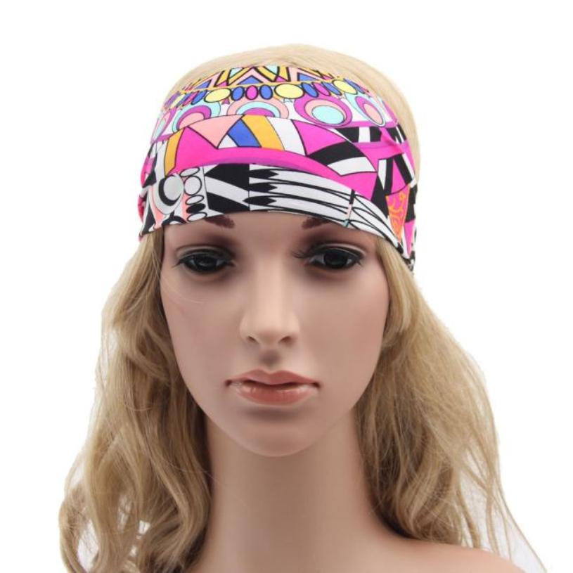 Brand new Women Elastic Turban Headband Floral Wide Stretch Hair Band Girl Yoga Hair Accessories 1Pcs(China (Mainland))