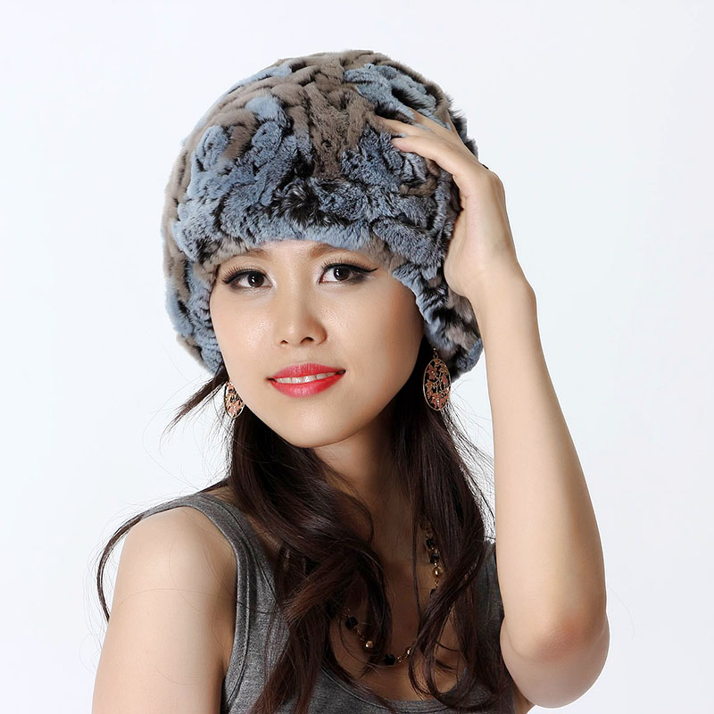 Handmade Winter Women's Real Genuine Knitted Rex Rabbit Fur Caps Female Fur Hats Lady Ear Protector VF0444(China (Mainland))