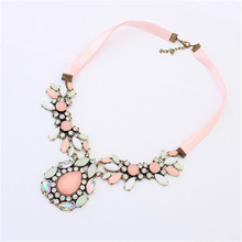 2015 Hot Sale Fashion brand jewelry Sweet Pink resin Gem Crystal Flower collar choker Necklace For Women Accessory bijoux femme(China (Mainland))