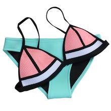 2015 Newest  Women Neoprene Bikini Set Neoprene Swimwear Neoprene Swimsuit  Mesh Triangle Bathing Suit(China (Mainland))