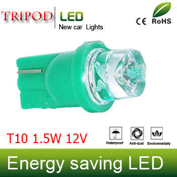 Tripod Brand T10 1.5W DC12V car lamp green Dashboard Lights license lamps The width light Small lights 10pcs/lot CD00291(China (Mainland))