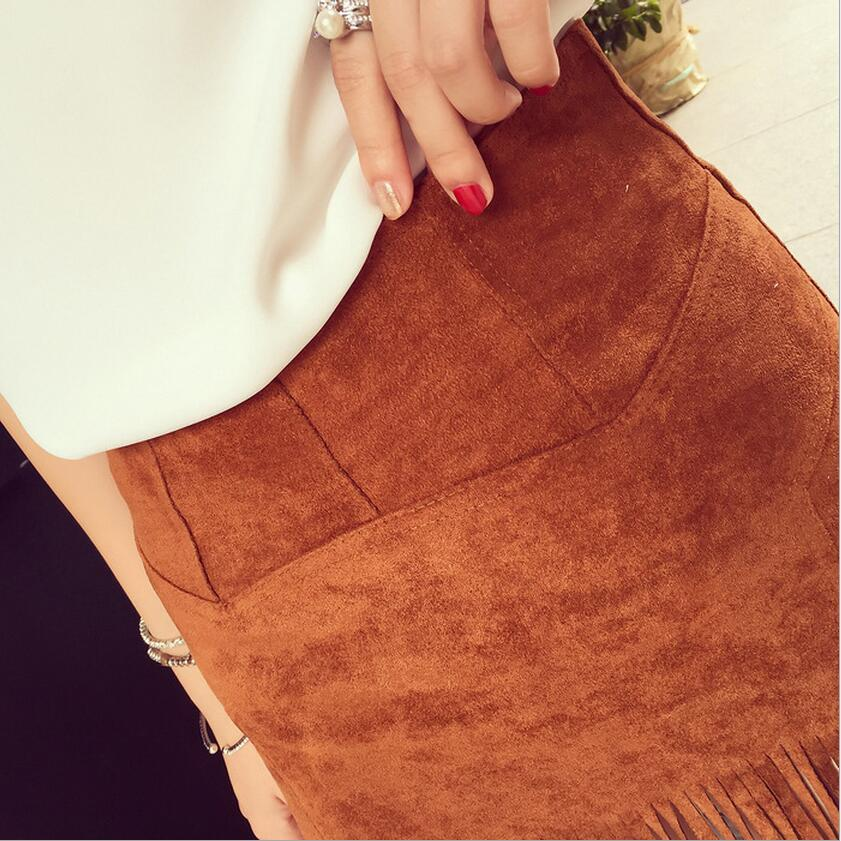 ew Women Suede Fringed Leather Skirt Fashion Package Hip High Waist Tassel Skirts Female Saia Feminina Solid Color  Spring