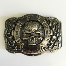 Retail New Style Plated Silver Skull belt buckle 9.0*6.8cm Silver Color Metal For 4cm Wide Belt Men Women Jeans accessories(China (Mainland))