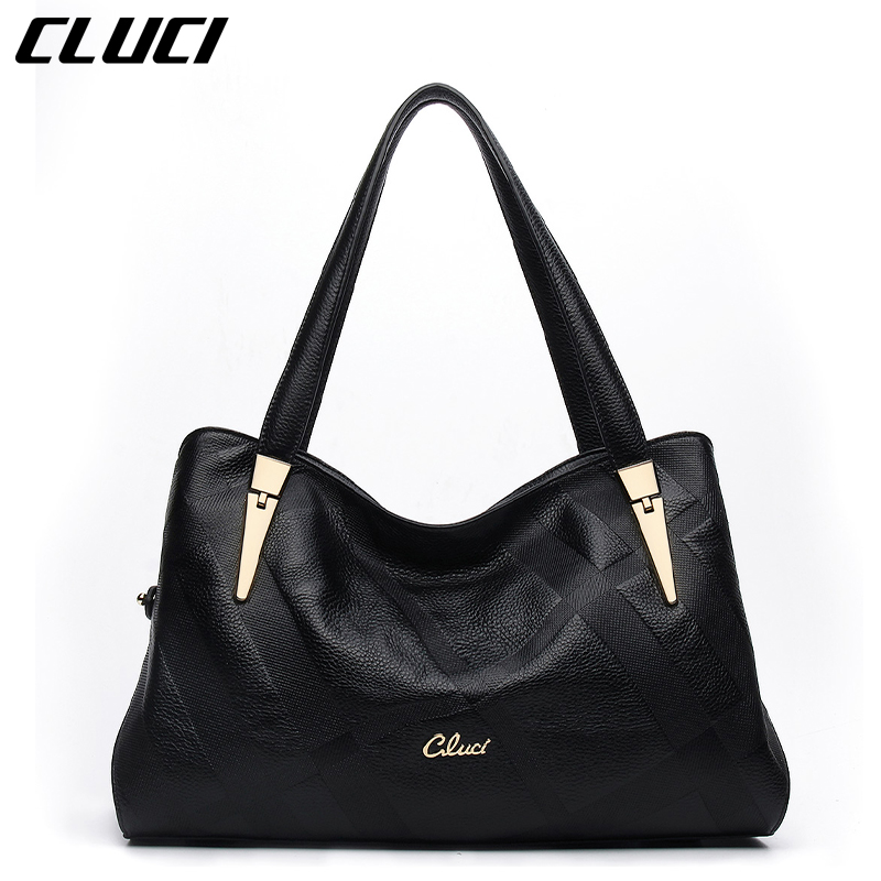 CLUCI 2016 New Women Black Handbags High Quality Zipper Genuine Leather Solid Soft Leather Evening Casual Tote Bags Medium(China (Mainland))
