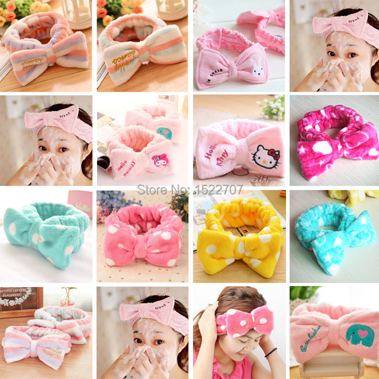 2015 hot sale women bow hair band belted Polka Dot Heart cartoon animal plush velvet lady headband makeup bath wash scarf(China (Mainland))