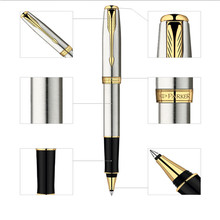 1pcs/lot Parker Pen Roller Ball Pen Stationery Silver Pen Gold Clip Parker Sonnet High Quality Pens Writing Supplies 13.3*1.2cm(China (Mainland))
