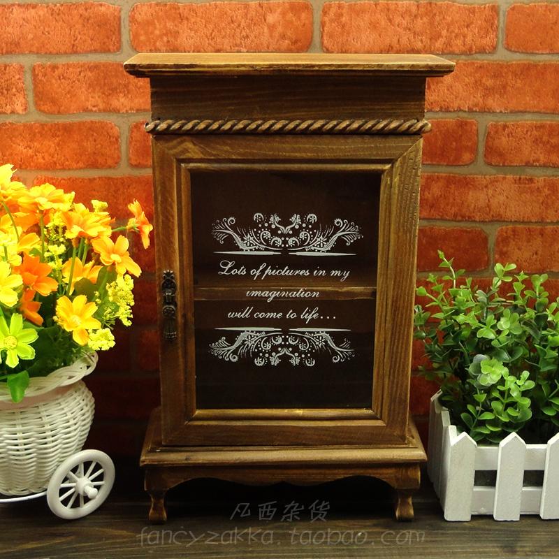 Zakka antique retro wood finishing sundries box wooden for Application box decoration