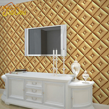 3D Stereoscopic Imitation Soft Bag Leather Wallpaper For Living Room TV Hotel Room Checkered Background Walls Wall Covering Roll(China (Mainland))