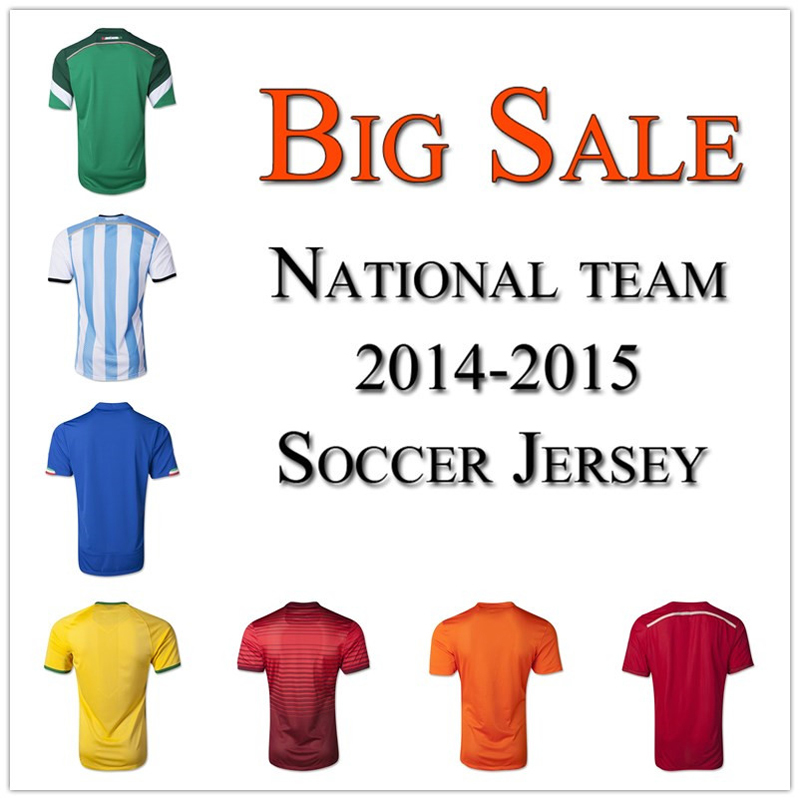 National team soccer jersey 2014 2015 player and fan version women and men football jerseys 14 15 no name no number(China (Mainland))