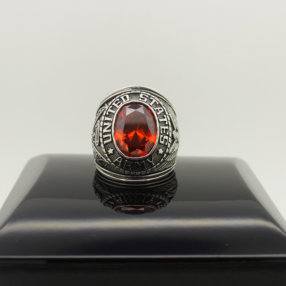 US Army USA United stated Military Red emerald bule white yellow Austrian Crystal 925 Sterling Silver Solid Rings(China (Mainland))