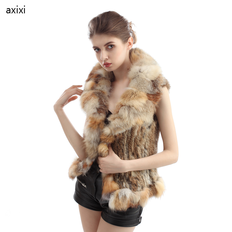 Fashion Women 2015 New Real Genuine Rabbit Fur Vest/Gilet waistcoats with Fox Collar natural Knitted Rabbit Fur coat belt TP6015