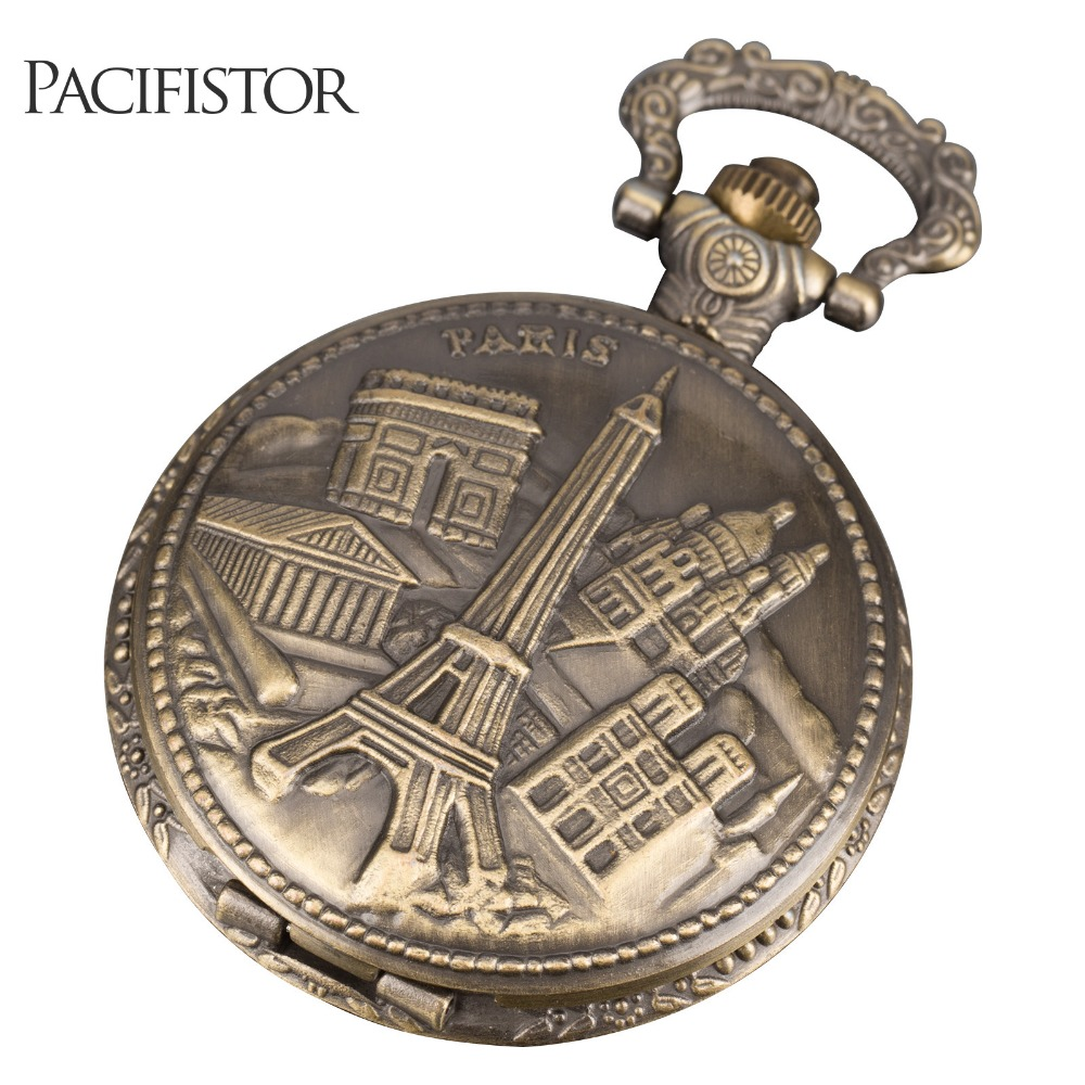 PACIFISTOR Pocket Watch Paris Tower Retro Antique Quartz Pocket Watches Bronze Necklace Chain Full Metal Relogio De Bolso(Hong Kong)