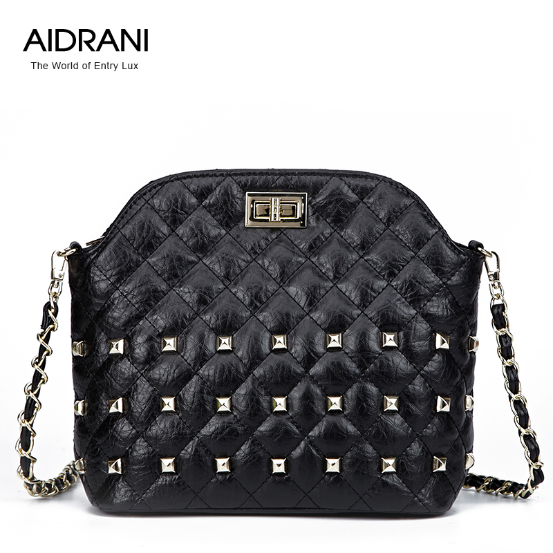 2015 womens cowhide handbag rivet chain bag messenger bag shoulder bag small bags<br><br>Aliexpress