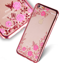 Luxury Ultra Slim Crystal Diamond Bling Flowers Electroplating Soft TPU Phone Cases For iPhone 4s 5s 6 6s 6Plus Back cover coque(China (Mainland))