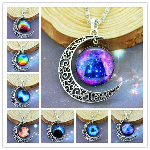 Free Shipping 2015 New Fashion Galaxy Moon Necklace Love Cabochon Alloy Hollow Moon Pendant Silver Chain Necklace Best Gift(China (Mainland))
