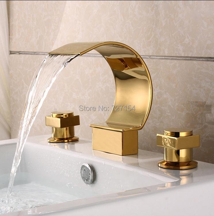 Фотография Free Shipping! Modern Deck Mounted Bathroom Basin Faucet Dual Handles Mixer Tap Golden Finish