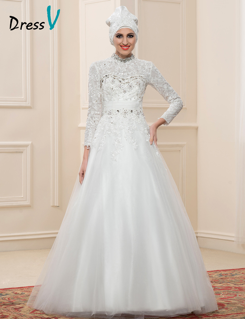 Gorgeous 2016 muslim wedding dresses lace high neck dubai for Cheap wedding dresses in dubai